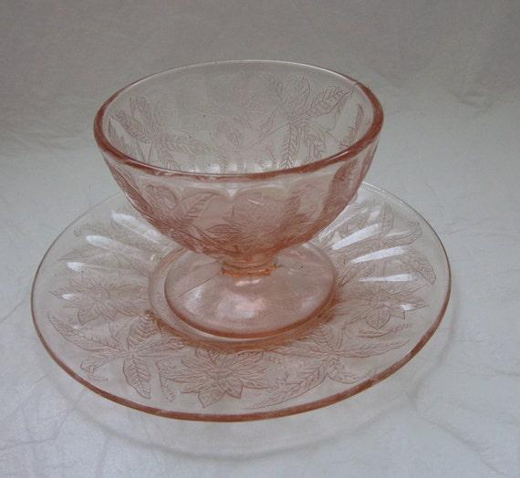 vintage Pink Federal depression glass pattern footed sherbet