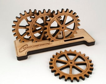 Gear Coaster Set Bamboo Personalized Wooden Name Holder