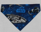 STAR WARS Millenium Falcon Space Ship Warrior. Dog Cat Ferret Reversible 2 in 1 Over the Collar Bandana. Custom made just for your pet