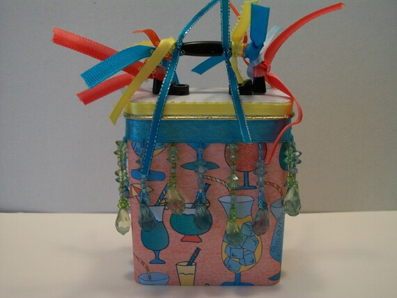 Gift Card Holder - Mixed fancy drinks orange and turquoise blue