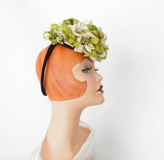 1940s tilt hat, forward tilt with backband, flowers