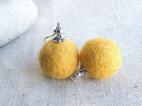 BUY 2 GET 1 FREE  Felt Earrings Yellow Honey Earrings Merino wool Felt Jewelry Ready to ship