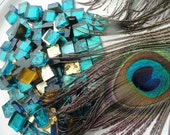 Mosaic tile, 100 Vintage Peacock Blue mosaic tiles, Italian glass tile, mural mosaic tile, church mosaic,