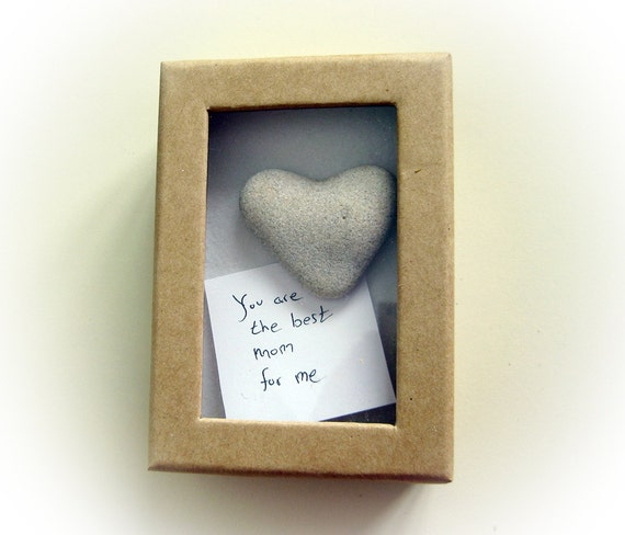 Unique Mother's Day Card - Unique Card for Mom - Original Card - a heart shaped rock in a box