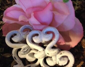 Drawer Pulls, Drawer Knobs, White Satin Shabby Chic Knobs - Set of 4 knobs