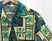 Vintage 60s Hawaiian Aloha Tiki Men's Shirt - Large