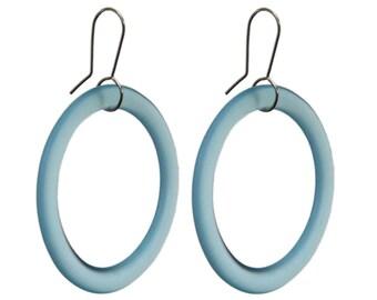 Large Hoop Recycled Glass Earrings