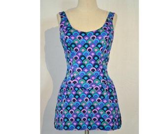 Vintage 1960's/1970's Swimsuit // Pin-Up Bombshell Swimsuit by E. Stewart // Teal, Green, Lavender Print