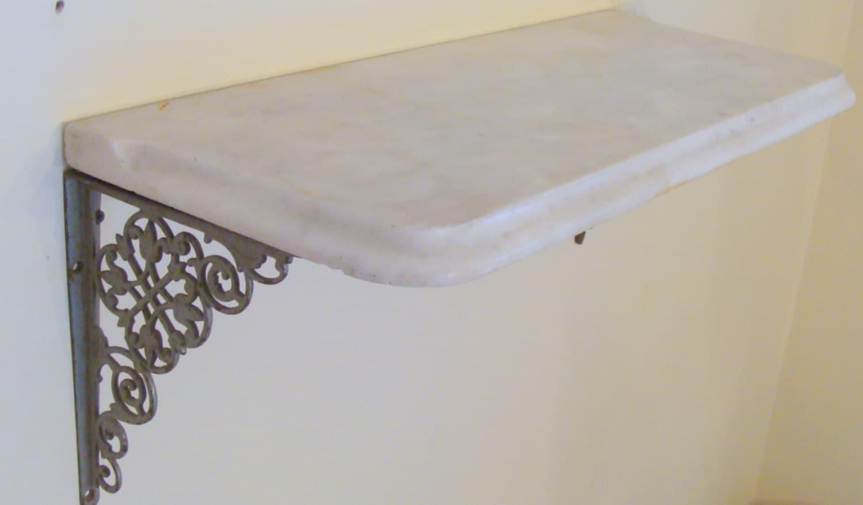 Victorian White Beveled Marble Shelf w Ornate Cast Iron