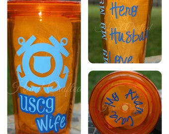USCG Wife Tumbler (other military branches available)