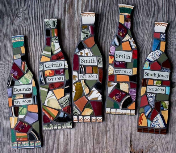 Wine Bottle Wall Art personalized mosaic wine bottle wall art with name and date