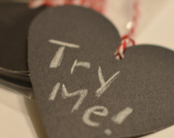 Chalkboard Tags, Chalk Gift Labels, Reuseable Black Heart Tag, Bakers Twine Tags