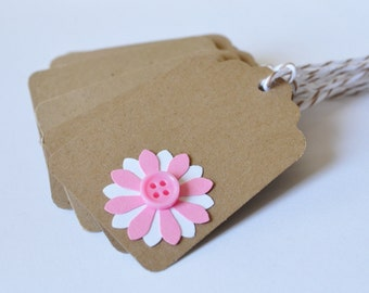 Kraft Paper Flower Tags, Button Embellishment Tag, Bakers Twine and Paper Tags, Brown Pink White Hang Tags, Gift Wrap