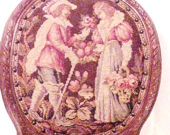 Superb Louis XVI French Lovers Allegorical Needlepoint Balloon Back Parlor Chair
