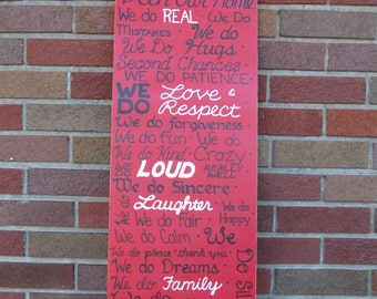 In Our Home SIGN Subway Distressed primitive Red Family Rules Handmade Hand-painted Wooden 12x28 WHAGN Made to Order