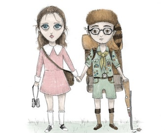 Suzy & Sam - Moonrise Kingdom - 8 1/2 x 11 Illustration Print