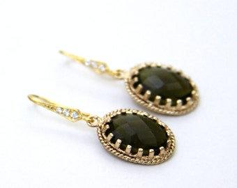 Bettina. Olivine Green Faceted Oval Glass Stone Earrings Gold