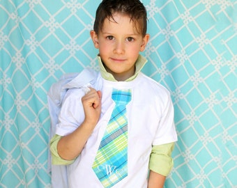 Spring Summer Boy's Tie T-shirt.  Summer Wedding Ring Bearer Tie NON Personalized. Boy's Tie Tee T-shirt Children Clothing Plaid Birthday