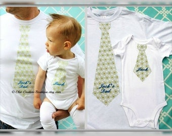 Father's Day Gift Baby Boy Personalized Gift Set of 3 for Daddy and Baby. Tie Bodysuit, Tie T-shirt, & Leg Warmers. 1st Birthday,  Daddy Me