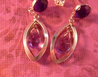 Amethyst  Earrings - Double Amethyst Earrings - Both Post and Dangle Earrings - Amethyst Sterling Silver Earrings