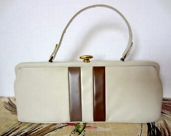 Vintage Color Block Handbag with Ellipse Snap, Beige & Brown Stripes