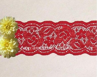 Red Lace Trim 7/14 Yards Stretch Floral Galloon 2 inch wide Lot N99 Added Items Ship No Charge