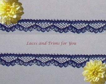 Navy Lace Trim 12/24 Yards Delicate Scalloped 3/8 inch J55C Added Items Ship No Charge