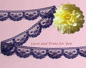 Purple Lace Trim 12/24 Yards Scalloped 5/8 inch wide Lot J64A Added Items Ship No Charge