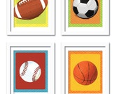 Balls Art Prints, Sporty Day, 5X7 Inches, Wall Decor for kids, Gift for boys, Sports Artwork, Birthday Gift