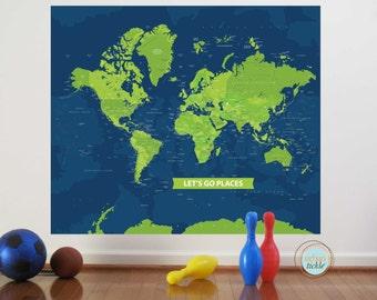 World Map Decal, Beautiful Big World, 50X42 Inches, Nursery Decor, Baby Room, Play room ideas