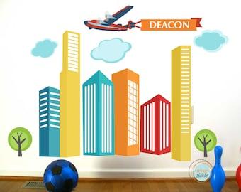 City Skyscrapers Decals, Urban Skyline PERSONALIZED, LARGE, Nursery Wall decor, Wall stickers, PlayRoom Art, Boys room decor
