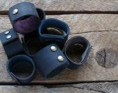 Black Leather Cuff- Unisex Leather Bracelet