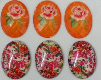 6 Pieces 40 x 30 mm Resin Oval Cabochons. Mixed  Pack with Large  Rose and Vintage Flowers