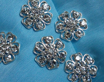 10 Pieces Silver  Metal RhinestoneFlower Buttons  24 mm.