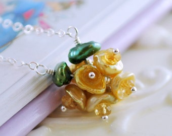 Gold Flower Girl Necklace Genuine Freshwater Pearl Citrine Keishi Blossom Child Children Wire Wrapped Sterling Silver Jewelry
