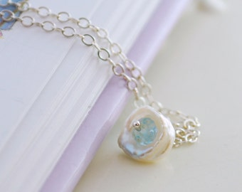 Blue Topaz Necklace for Child, Sterling Silver Jewelry, White Keishi Keshi Freshwater Pearl