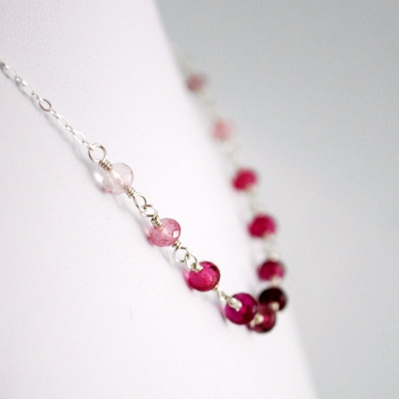 Genuine Pink Tourmaline Necklace Child Children Girl Semiprecious Gemstone Wire Wrapped Sterling Silver Jewelry October birthstone