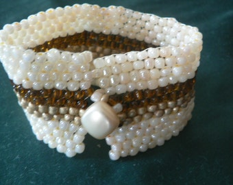 Classy Cream, Coffee, and Brown Sugar Peyote Cuff Bracelet