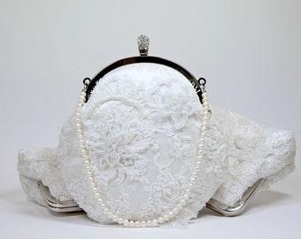 EllenVintage Alencon Beaded and Appliquéd Lace  Silk Clutch in White off,  wedding clutch, Bridal clutch, Purse for wedding