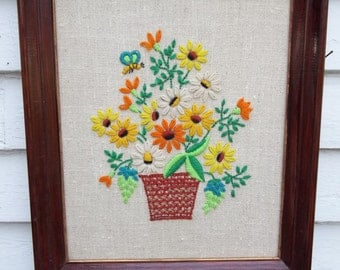 Vintage Crewel Embroidery Framed Flowerpot Flower Picture