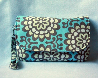 Diaper Clutch with Changing Pad - Blue and Gray - Amy Butler Wallflower