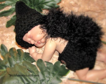 Newborn Baby Black SQUIRREL Hat and DIAPER Cover Photo Prop - Boy - Girl - Reborn Doll Costume - Made to order