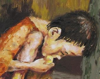 H.A.L.T. Impressionism Palette Knife Original Artwork Reproduction 11x14 Print By Joseph Palotas Honduras Starving Child eating bread crumb