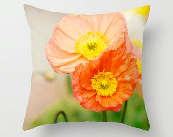 Pillow Case - Poppy Flower Poppies - Nature Home Decor - Orange Peach Pink Yellow - Pillow Cover  - Fine Art Pillow - 18x18