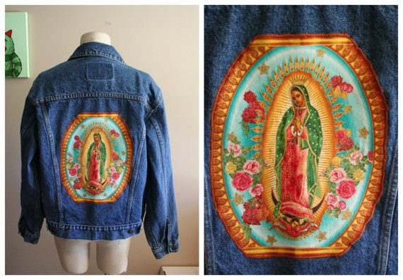 Virgen de Guadalupe Gap jean jacket Size Small Mexican
