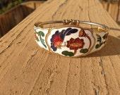 Vintage 70s Metal Cuff Bracelet Flowers & Butterfly on White Enamel, Victorian Style