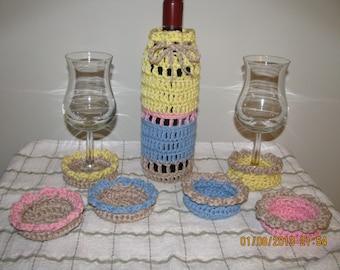 Wine bottle cover & wine glass cozy coasters set - crochet cotton