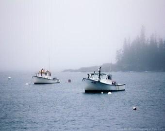 BOAT Photography - MAINE Lobster Fishing BOATS, Pick Your Size Print, Blue White Black, Nautical Marine Beach Ocean Maine, Liz Thomas