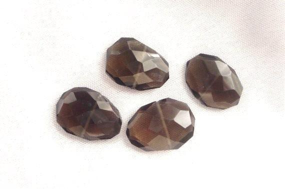 4 pcs  Smoky Quartz , faceted flat nugget beads