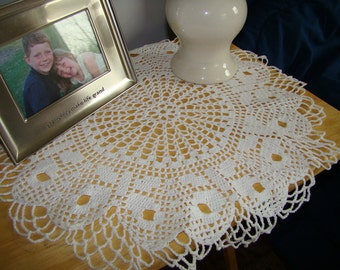 Evening in Paris crocheted nightstand doily